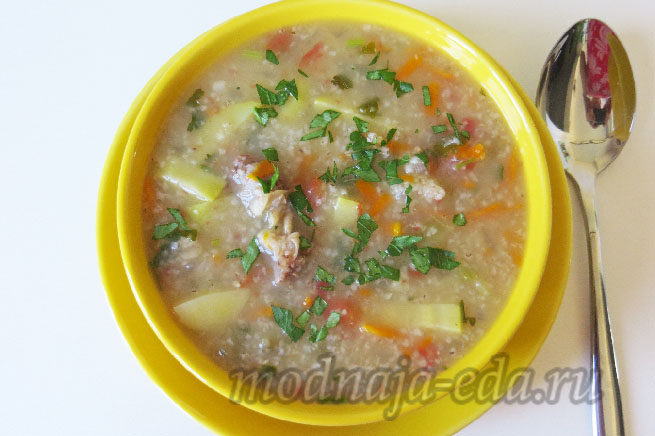 Суп с ячневой крупой и овощами