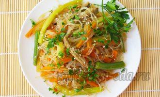 Фунчоза с овощами и говядиной