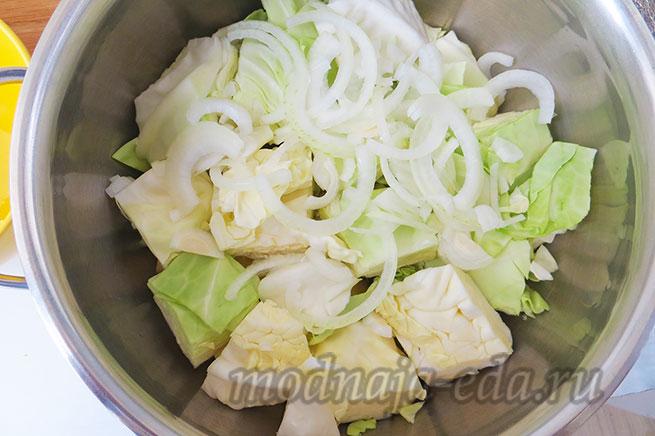 Тушеные овощи. Слой капусты.