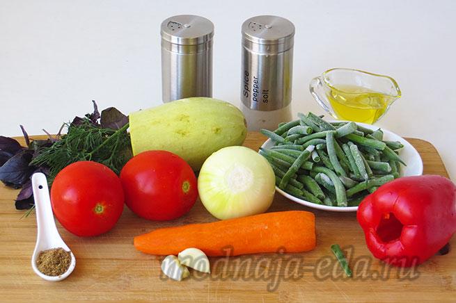 Овощи на сковороде, ингредиенты