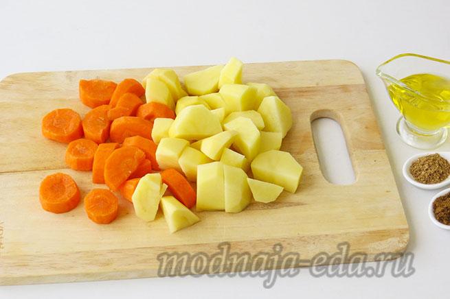 Овощной суп-пюре с нутом, морковь и картофель