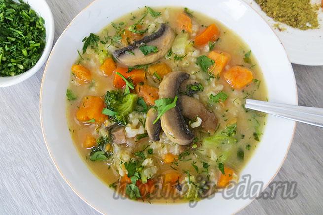 Рисовый суп с овощами и кокосовым молоком