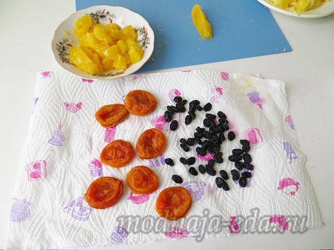 Салат из свежей моркови; курага и изюм