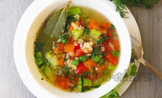Суп с булгуром и овощами с зеленью