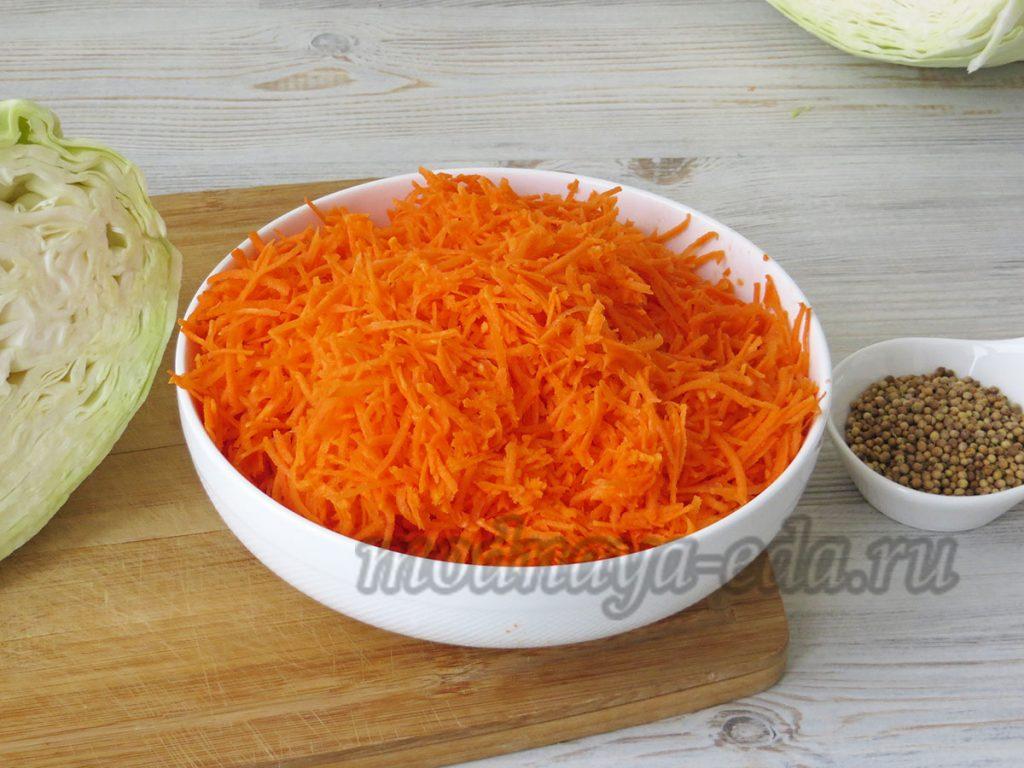 Квашеная капуста, натёртая морковь
